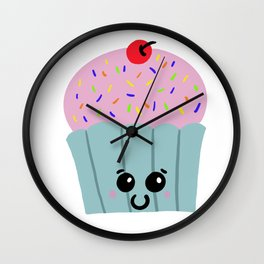 Kawaii Cupcake Wall Clock