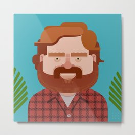 Comics of Comedy: Zach Galifianakis Metal Print