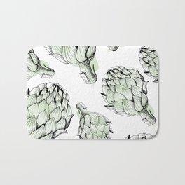 Artichoke backdrop. Seamless pattern artichoke sketch. Hand-drawn artichokes without background. Bath Mat