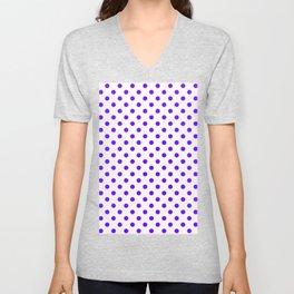 Small Polka Dots - Indigo Violet on White Unisex V-Neck