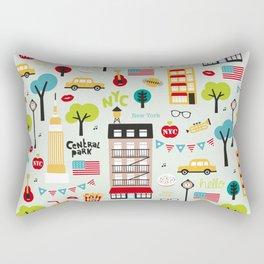 Fun New York City Manhattan travel icons life hipster pattern Rectangular Pillow