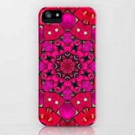 Garden mosaic kaleidoscope mandala - hot pinks iPhone Case