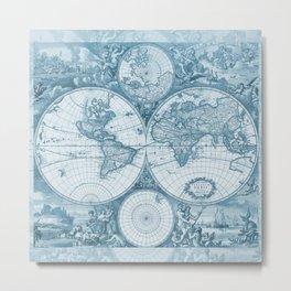 Antique Blue Map Metal Print