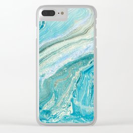 Blue Liquid Marble Clear iPhone Case