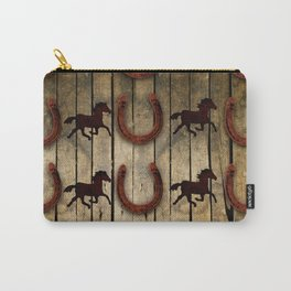 Horses and Horseshoes on Wood  backround Gifts Carry-All Pouch