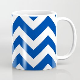 Smalt (Dark powder blue) - blue color - Zigzag Chevron Pattern Coffee Mug