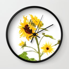 One sunflower watercolor arts Wall Clock