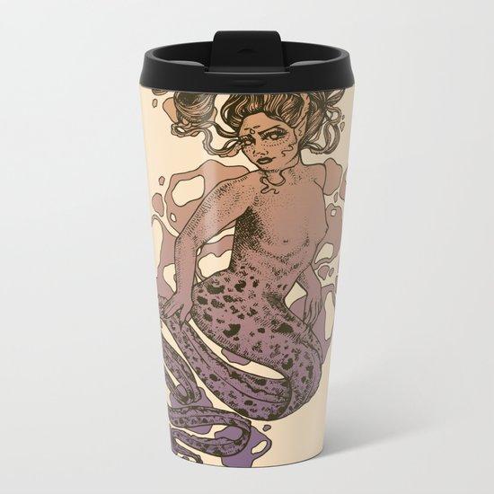 Nixie Orange and Purple Metal Travel Mug