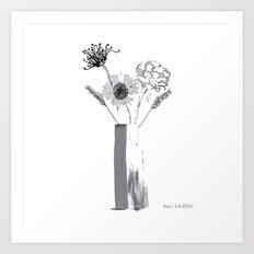 Black and White Floral Bouquet Art Print