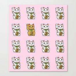 Maneki neko (pink background) Canvas Print
