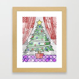 Coloured Christmas Tree Framed Art Print