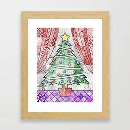 Coloured Christmas Tree Framed Art Print