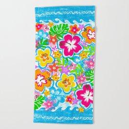 Tropical Floral Beach Towel