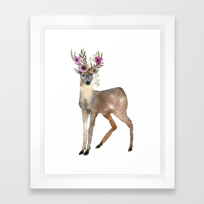 Boho Chic Deer With Flower Crown Framed Art Print