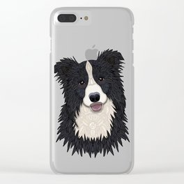 Happy Border Collie Clear iPhone Case
