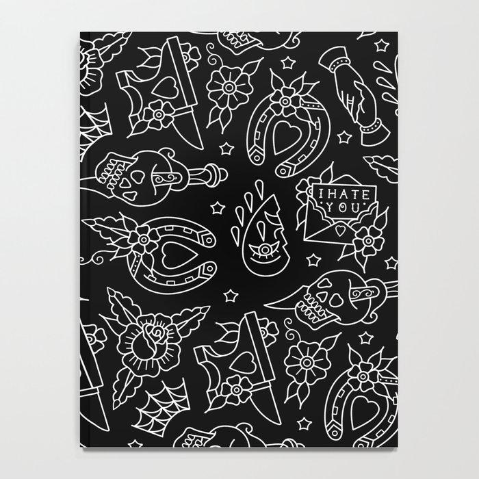 Classic Black Tattoo Pattern  Notebook