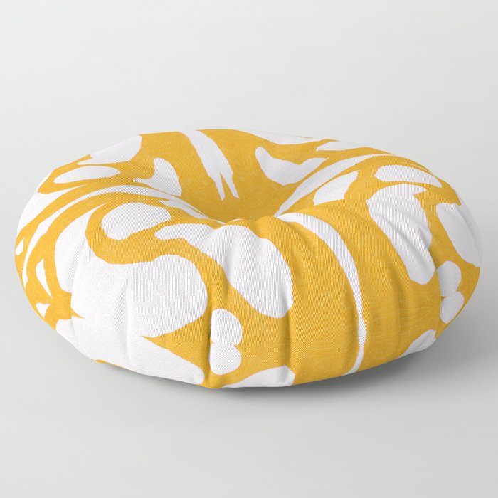 Abstract in Yellow and Cream Floor Pillow