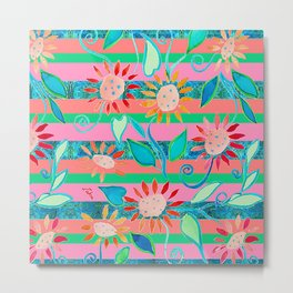 zakiaz flower stripe Metal Print