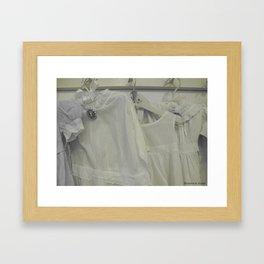 Vintage Closet - Vintage Linen Children's Dresses - Baby Love - Nursery Decor Framed Art Print