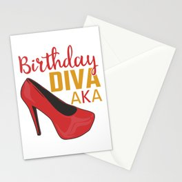 Birthday Diva AKA Shirt For Those Whose Birthday Is Coming Near T-shirt Design Red Heel Shoe Sexy Stationery Cards