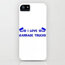 I Love Garbage Trucks Blue iPhone Case