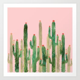 Cactus Four on Pink Art Print