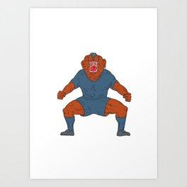 Bulldog Footballer Celebrating Goal Cartoon Art Print