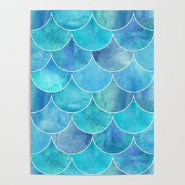 Turquoise Blue Watercolor Mermaid Poster