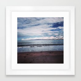 black sand beach Framed Art Print