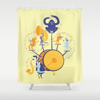 band Shower Curtains featuring One man (five monkey) band by Wharton