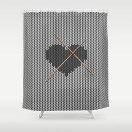 Original Knitted Heart Design Shower Curtain
