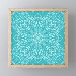 Teal mandala Framed Mini Art Print