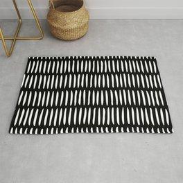 Classy Handpainted Stripes Pattern Black, Scandinavian Design Rug