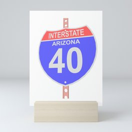 Interstate highway 40 road sign in Arizona Mini Art Print