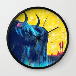 Horny (blue) Wall Clock