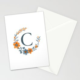 Monogram C Orange Autumn Floral Wreath Stationery Cards