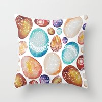 eggs Throw Pillows featuring Eggs by Sushibird