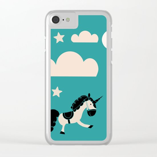 Unicorn Teal Clear iPhone Case