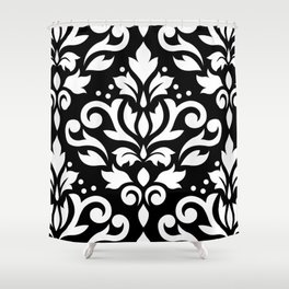 Scroll Damask Large Pattern White on Black Shower Curtain