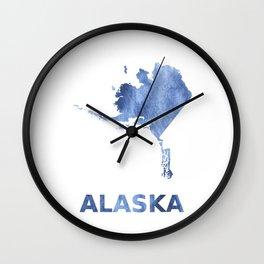 Alaska map outline Blue clouds watercolor pattern Wall Clock
