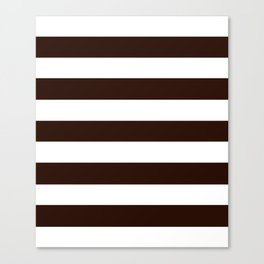 Root beer - solid color - white stripes pattern Canvas Print