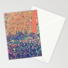 philadelphia city skyline map Stationery Cards