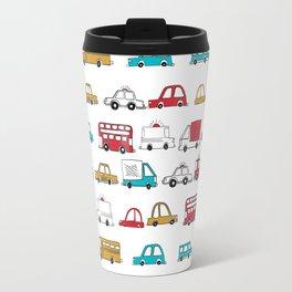 Cars trucks buses city highway transportation illustration cute kids room gifts Travel Mug