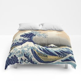 seascape painting japanese ukiyo e art the great wave off kanagawa Comforters