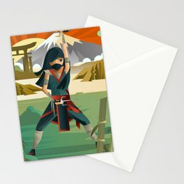 woman female ninja warrior with sai blades on japanese mountains Stationery Cards