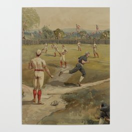 Vintage Painting of a Baseball Game (1887) Poster