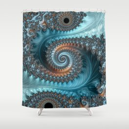 Feathery Flow - Teal and Taupe Fractal Art Shower Curtain