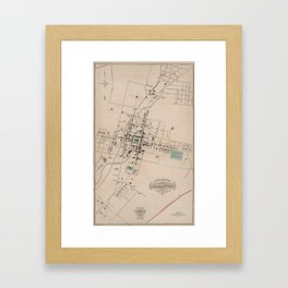 Vintage Map of Harrisonburg Virginia (1877) Framed Art Print