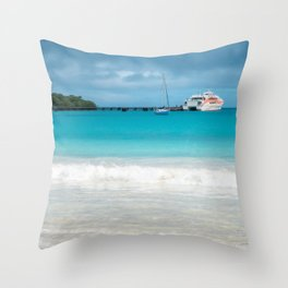 Pier and ferry boat at Kuto Bay in New Caledonia. Throw Pillow
