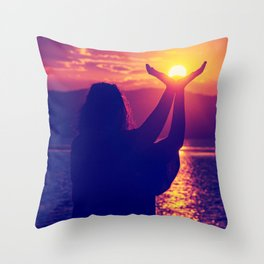 Holding The Sun Throw Pillow